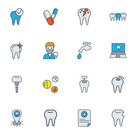 Enamel icons colored line set with teeth, medical report, pills and other clinic