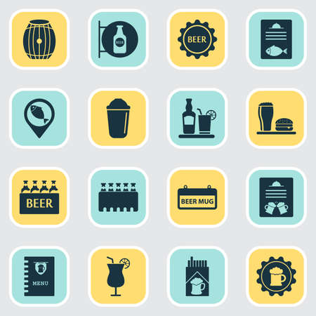 Beverages icons set with lunch, geolocation, fish menu and other beer sticker elements. Isolated illustration beverages icons.