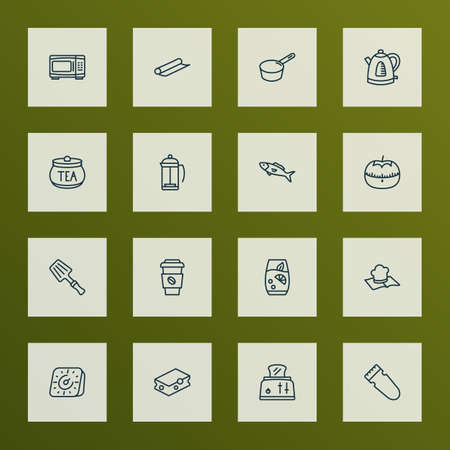 Culinary icons line style set with toaster, tea container, fish and other electric oven