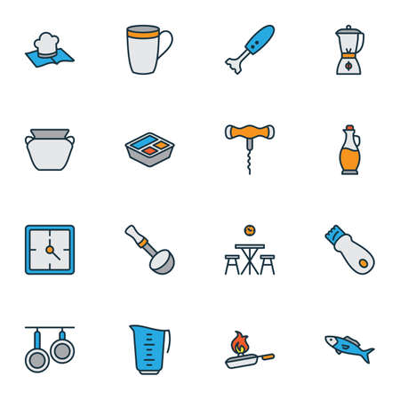 Cooking icons colored line set with corkscrew, recipe book, pans and other smoothie