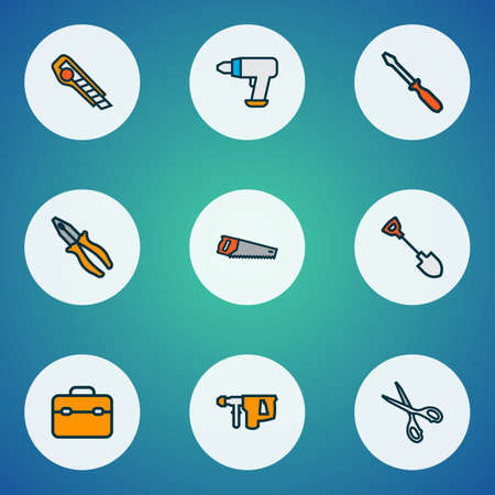 Repair icons colored line set with shovel, drill, saw and other cutter elements. Isolated vector illustration repair icons.