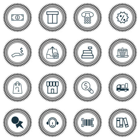 Ecommerce icons set with return item, financial research, online shopping and other employee  elements. Isolated vector illustration ecommerce icons.