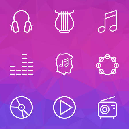 Multimedia icons line style set with mixer, lover, play and other cover  elements. Isolated vector illustration multimedia icons. Banque d'images - 124379836