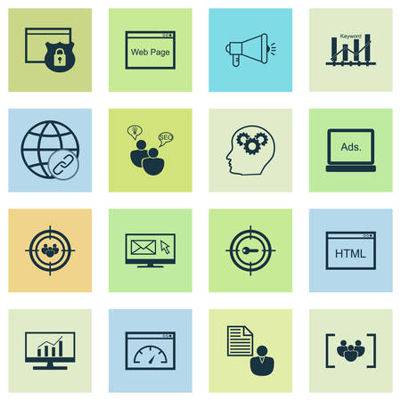Advertising icons set with keyword ranking, email marketing, comprehensive analytics and other connectivity  elements. Isolated vector illustration advertising icons. 向量圖像