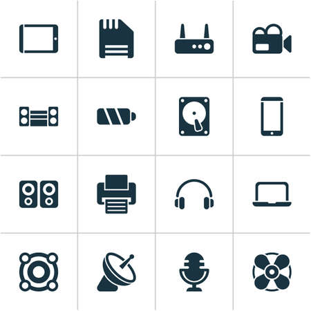 Device icons set with sound system, printer, fan and other hard drive elements. Isolated vector illustration device icons.