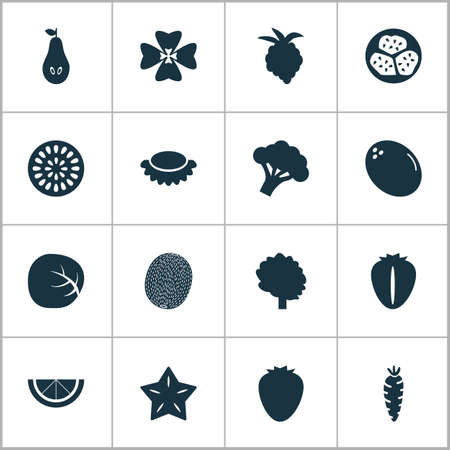 Vegetable icons set with tree, kiwano, starfruit and other wood  elements. Isolated vector illustration vegetable icons. Illustration