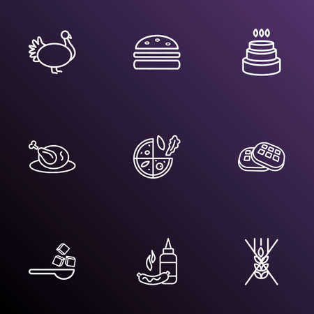 Eating icons line style set with sugar, mustard, waffle and other sandwich  elements. Isolated vector illustration eating icons.