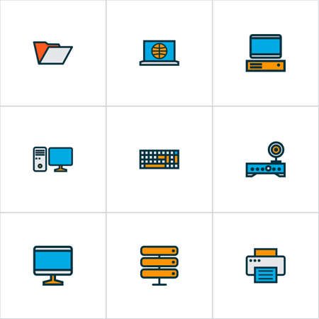 Hardware icons colored line set with folder, server, computer monitor and other screen  elements. Isolated vector illustration hardware icons.