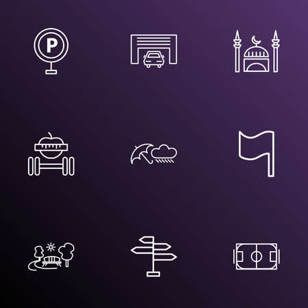 Public. Skyline icons line style set with rainy weather, mosque, flag and other signpost elements. Isolated vector illustration public. Skyline icons.