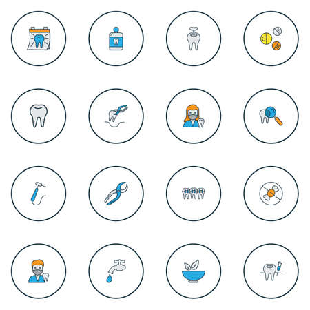 Tooth icons colored line set with no sweet, doctor, dental nippers and other syringe   elements. Isolated vector illustration tooth icons.