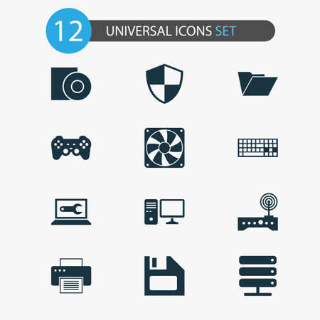 Gadget icons set with computer repair, PC, gamepad and other keypad  elements. Isolated vector illustration gadget icons.