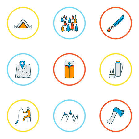 Camping icons colored line set with mountains, forest, axe and other bedroll   elements. Isolated vector illustration camping icons.