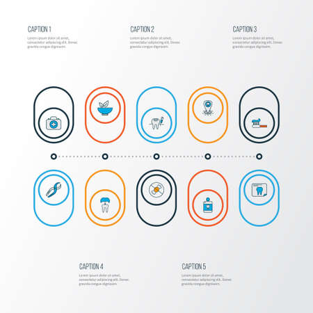 Tooth icons colored line set with toothpaste, medicine, dental nippers and other cleanser elements. Isolated vector illustration tooth icons. 일러스트