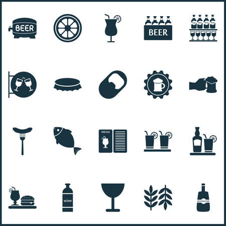 Beverages icons set with fish, margarita, bottle of wine and other soda elements. Isolated illustration beverages icons.