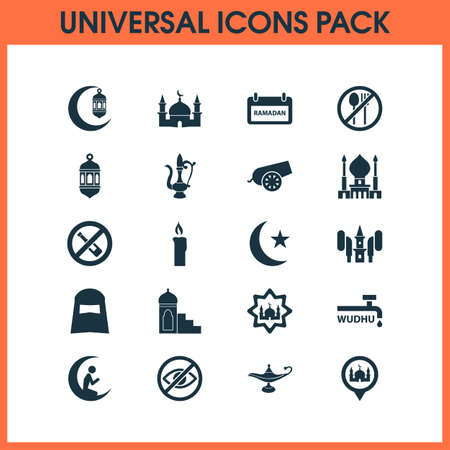 Religion icons set with audio, gods house, mubarak and other oriental jug elements. Isolated vector illustration religion icons.