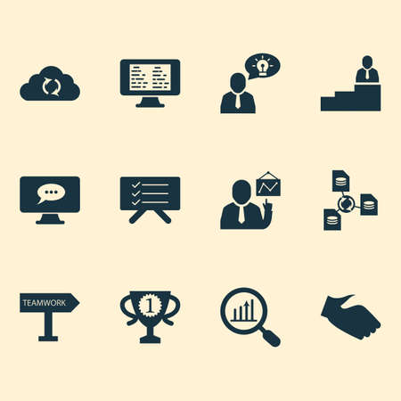 Job icons set with handshake, file sharing, destination board research elements. Isolated illustration job icons.