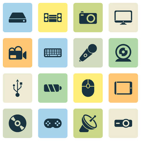 Device icons set with joystick, video camera, battery and other desktop elements. Isolated illustration device icons. Stock Photo