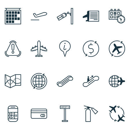 Travel icons set with credit card, calendar time, globe and other world elements. Isolated vector illustration travel icons.