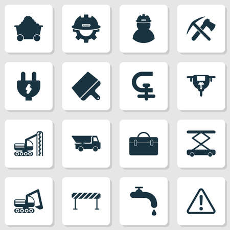 Construction icons set with water crane, barrage, ax with pickax and other adapter elements. Isolated vector illustration construction icons.