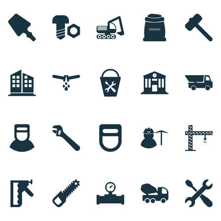 Industrial icons set with bolt with nut, crane, sawing and other instrument elements. Isolated illustration industrial icons. Stock fotó