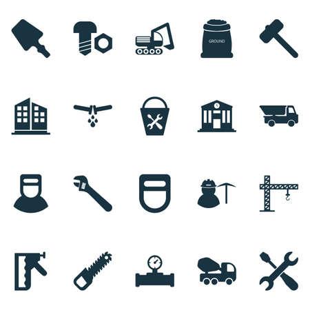 Industriesymbole mit Bolzen mit Mutter, Kran, Sägen und anderen Instrumentenelementen. Industrielle Symbole der isolierten Illustration. Standard-Bild