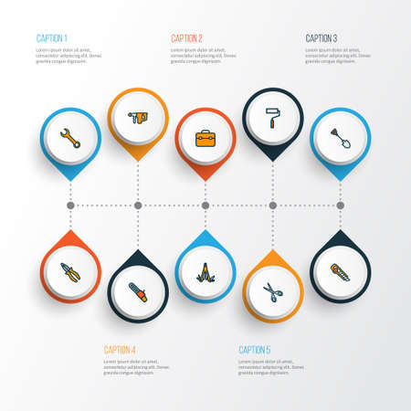 Handtools icons colored line set with electric hammer, pliers, utility knife and other wall painting elements. Isolated illustration handtools icons. Imagens