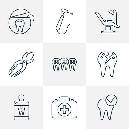 Tooth icons line style set with tooth floss, dental nippers, braces and other treatment elements. Isolated illustration tooth icons.