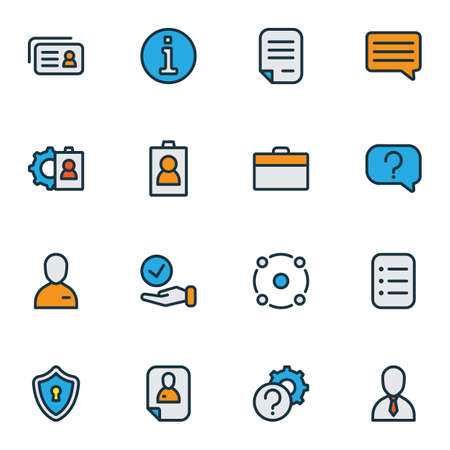 Job icons colored line set with resume, job seeker, contract and other inform elements. Isolated illustration job icons.