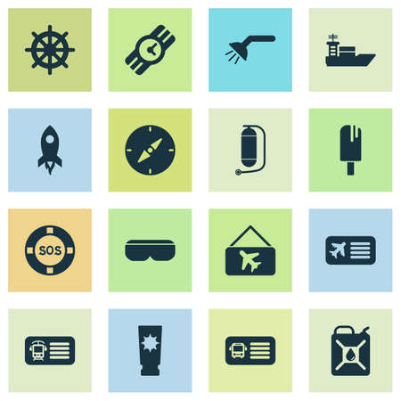 Trip icons set with petrol, rocket,  and other clock elements. Isolated illustration trip icons.