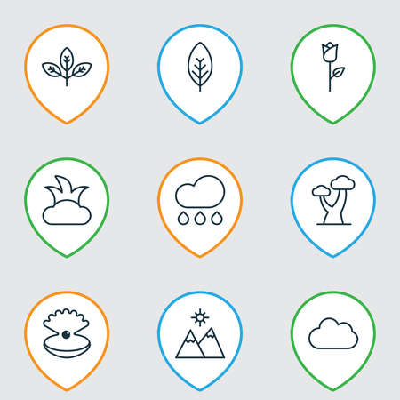 Nature icons set with branch, cloudburst, mountains and other rain elements. Isolated illustration nature icons. Stock Photo