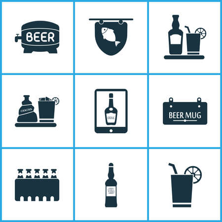 Drink icons set with liquor, tavern, case of beer and other rum with glass elements. Isolated illustration drink icons.