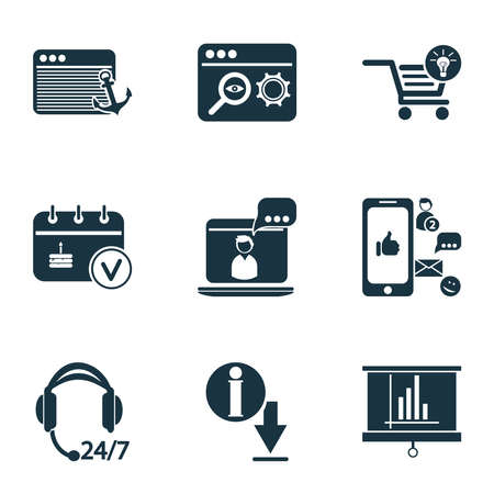 Analytics icons set with search optimization, download information, photo presentation and other SEO elements. Isolated illustration analytics icons.