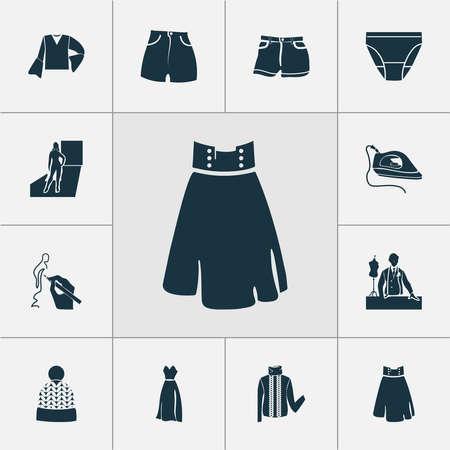 Fashionable icons set with turtleneck sweater, beachwear, drawing and other beanie elements. Isolated illustration fashionable icons. Reklamní fotografie