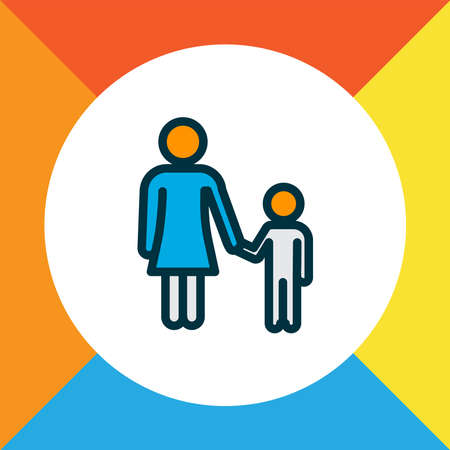 Mother with child icon colored line symbol. Premium quality isolated family element in trendy style. Banque d'images - 130554205
