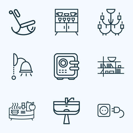 House icons line style set with electric socket, chandelier, wash stand ceiling lam elements. Isolated illustration house icons.