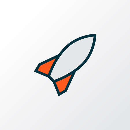 Military rocket icon colored line symbol. Premium quality isolated bomb element in trendy style.