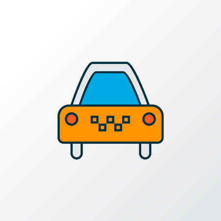 Taxi icon colored line symbol. Premium quality isolated cab element in trendy style.