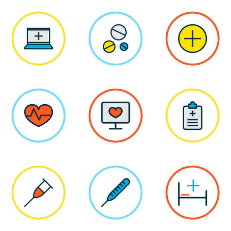 Medicine icons colored line set with antibiotic, medical questionnaire, hospital bed and other vitamin elements. Isolated vector illustration medicine icons. Banque d'images - 133464280