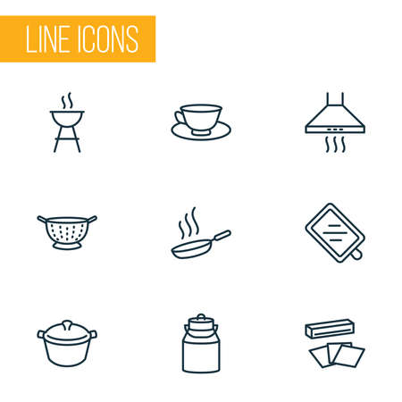 Culinary icons line style set with pot, kitchen hood, milk can and other foil elements. Isolated vector illustration culinary icons. Stok Fotoğraf - 133464284
