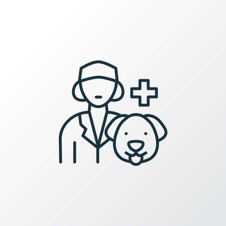 Vet icon line symbol. Premium quality isolated veterinarian woman element in trendy style. Stock Illustratie