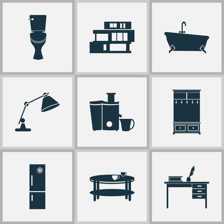 Interior icons set with desk, table lamp, fridge and other teatime elements. Isolated vector illustration interior icons. Stock Illustratie