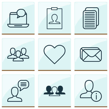 Communication icons set with team, information, webpage and other mailbox elements. Isolated vector illustration communication icons.
