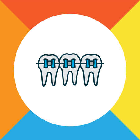 Braces icon colored line symbol. Premium quality isolated dentition element in trendy style.