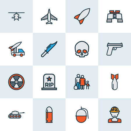 Combat icons colored line set with artillery, gun, military helicopter and other cranium elements. Isolated illustration combat icons. Фото со стока - 133464490