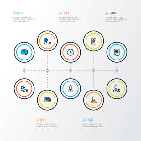 Work icons colored line set with employee, contract, offer and other check elements. Isolated vector illustration work icons.