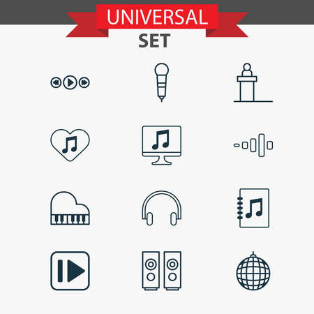 Audio icons set with piano, headphone, scene and other tune list elements. Isolated vector illustration audio icons.  イラスト・ベクター素材
