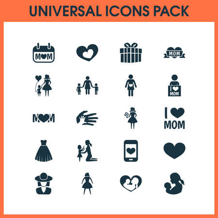 Mothers day icon design concept. Set of 20 such elements as family, heart and romantic. Beautiful symbols for mother, love and heart. 向量圖像