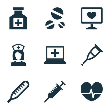 Antibiotic icons set with drug, nurse, thermometer and other cure elements. Isolated vector illustration antibiotic icons.