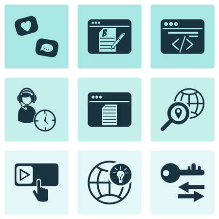 Analytics icons set with local SEO, sort keywords, custom coding and other programming elements. Isolated vector illustration analytics icons. Illustration