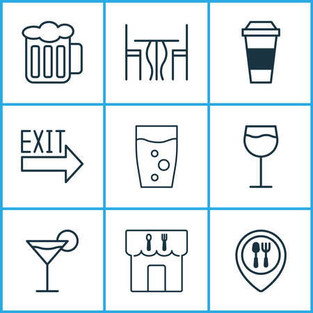Cafe icons set with beer, table, exit sign and other mocha elements. Isolated vector illustration cafe icons.